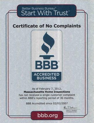 bbb no complaints certificate