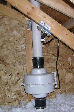 radon fan in attic