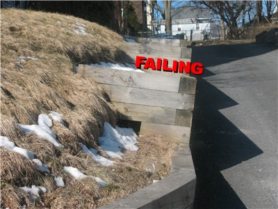 retaining wall failing